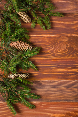 text space: Christmas rustic background - vintage planked wood with lights and free text space. Stock Photo