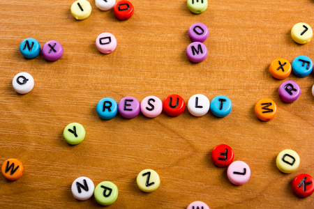 Results word on blue. Succeed business success, be a winner in business elections, pop poll or sports test, business report, election result. Counting losses and profit, analyzing financial statistics Stock Photo