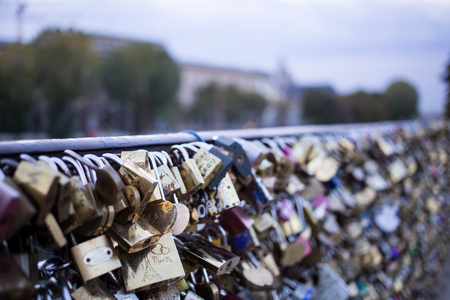 Love lock on a bridge in Paris, France Eternity connection Love symbol.