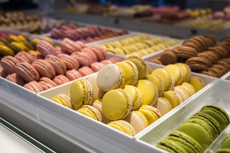 Macaroons Colorful traditional french sweets macarons in a shop