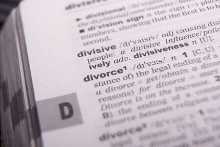 Divorce and separation concept. Dictionary definition