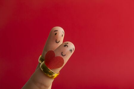 Painted happy fingers smiley in love