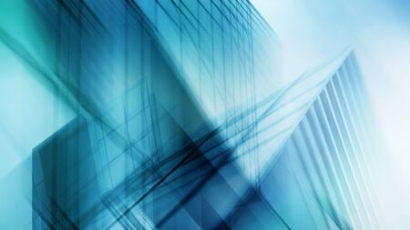 Abstract business modern city urban futuristic architecture background, motion blur, reflection in glass of high rise skyscraper facade, toned blue picture with bokeh. Real estate concept