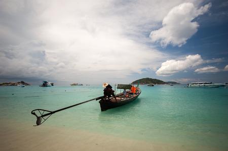 long tailed boat: Long tailed boat at Similan island, Thailand