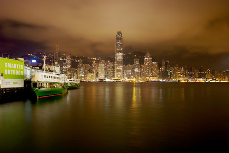 habour: Night scene of Victoria habour, Hong Kong Editorial