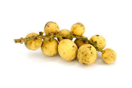 Longkong fruit or Lansium parasiticum is tropical fruit in Thailand and south east Asia on white background photo