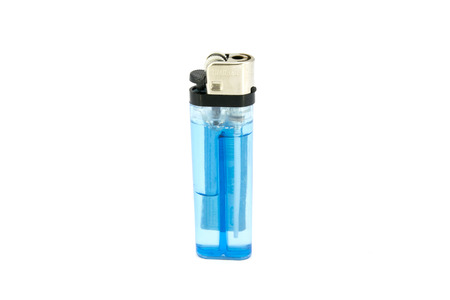 Blue lighter isolated on the white background photo