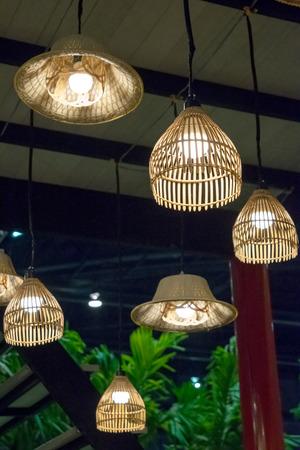 thai craft: Thai bamboo craft lamp decoration