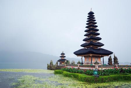 ulun: Pura Ulun Danu Bratan temple at Bali in raining day