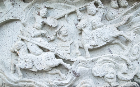 antiquated: Chinese stucco art on a wall Stock Photo