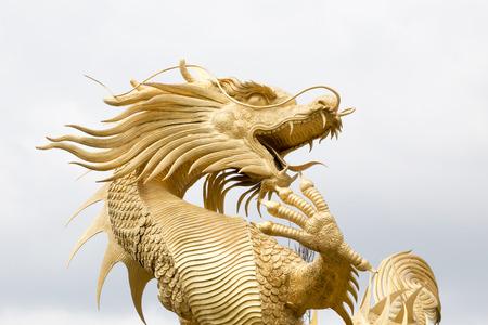dragon: Golden chinese dragon statue