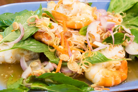 hectic: Spicy salad with shrimp Stock Photo