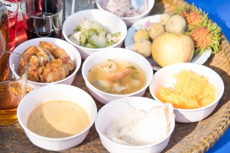 joss: sacrificial offering foods for Thai joss house
