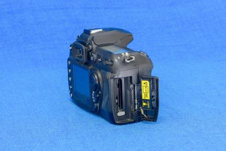 Memory socket of old black DSLR camera body