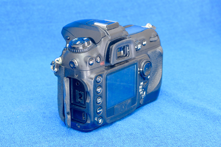 Connection ports of old black DSLR camera body
