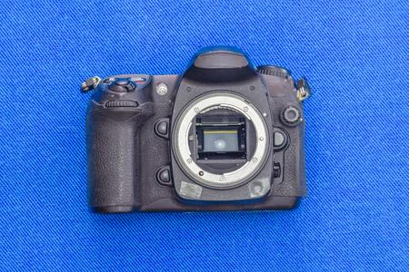 Old DSLR  black camera body without lens Stock Photo