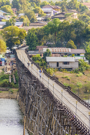 kanchanaburi: Mon Bridge, the longest wooden bridge of Thailand.