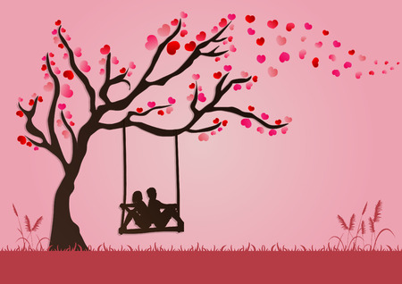 vector illustration of couples are swinging under Love tree with paper art style for valentine festival.