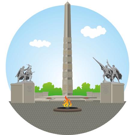 obelisk: WW2 memorial of Kaliningrad. Vector illustration