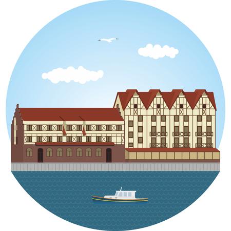fachwerk: Fish village in Kaliningrad. Vector illustration