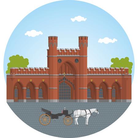 The Rossgarten Gate in Kaliningrad. Vector illustration