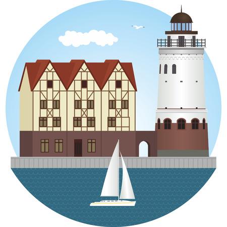 baltic: Fish village in Kaliningrad. Vector illustration