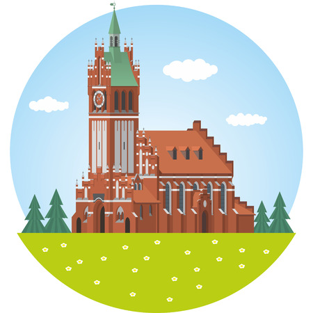 church family: The Church of the Holy Family. Vector illustration