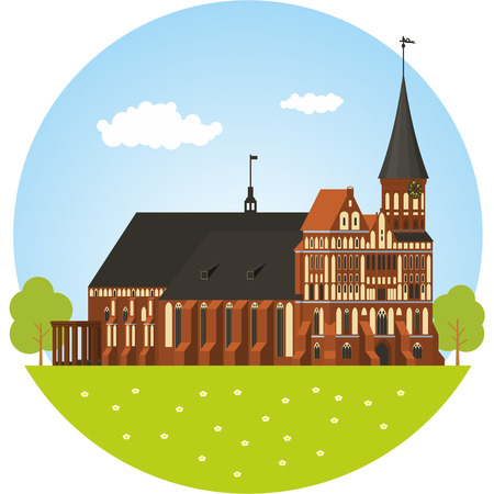 immanuel: Brick Gothic-style cathedral in Kaliningrad. Vector illustration