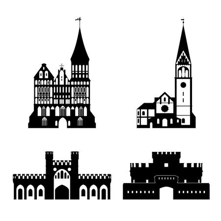 steeple: silhouette of Kaliningrad landmarks Illustration