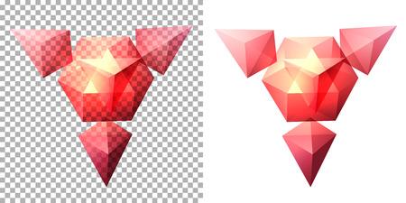 solid figure: forma geometrica complessa trasparente sulla base di tetraedro