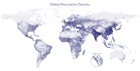 poblacion: Stippled vector map of global population density Vectores