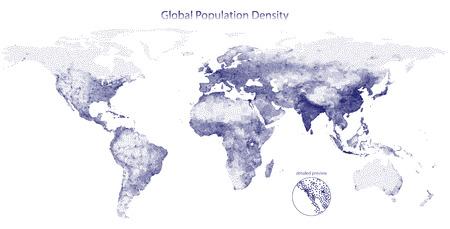 Stippled vector map of global population density Illustration