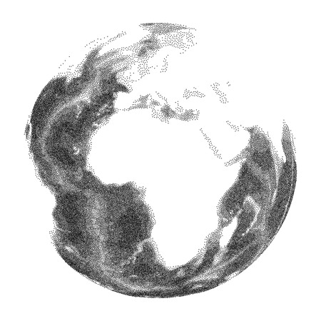 Globe with world ocean relief - vector stippled illustration Illustration