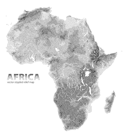 Vector stippled relief map of Africa