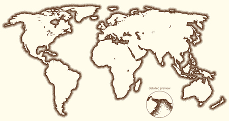Stippled outside world stylized vector map