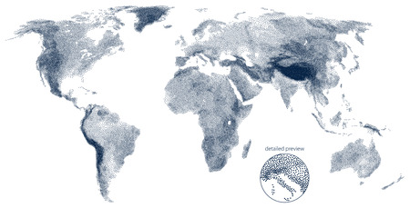 Stippled world relief vector map Иллюстрация