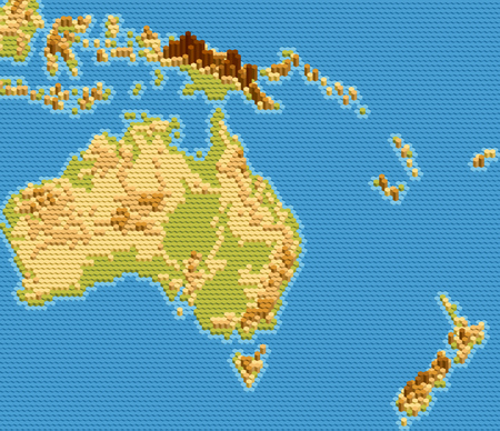 Vector physical map of Australia and Oceania stylized using embossed hexagons. Colored according to relief. Illustration
