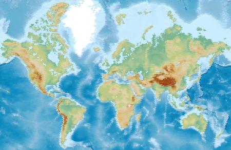 Wereld fysieke vector kaart gestileerd met behulp van zeshoeken. Gekleurd volgens relief Stock Illustratie