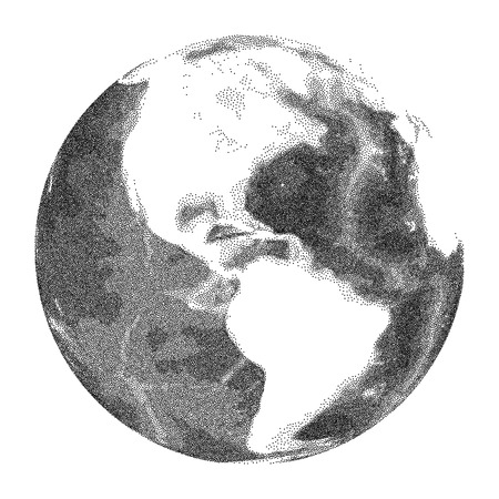 Globe with world ocean relief - vector stippled illustration Illustration