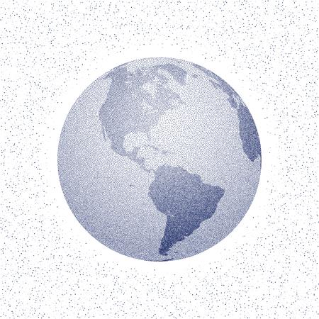 the americas: Vector stippled world stylized globe