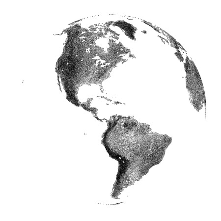 Globe with continental relief - vector stippled illustration