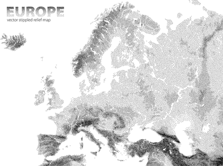 stippled: Vector stippled Europe relief map