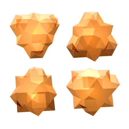 solid figure: Vector set of views of transparent complex geometric shape based on tetrahedron. Four types of perspective views