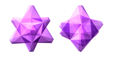 Vector set of views of transparent complex geometric shape based on two tetrahedrons. Two types of perspective views