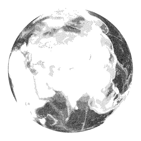 Globe with world ocean relief - vector stippled illustration. Views of Asia Illustration