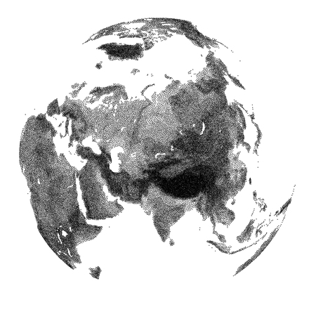 Globe with continental relief of Asia - vector stippled illustration