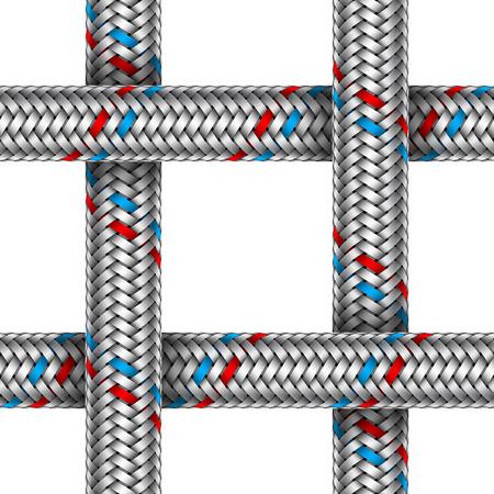 Vector seamless di tubo di metallo intrecciato intersecato acqua