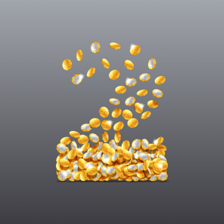 Vector number two made of coins filling character. Easy to edit