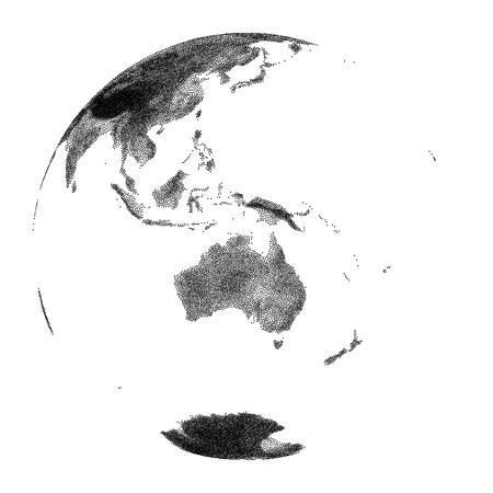 Globe with continental relief of Australia- vector stippled illustration