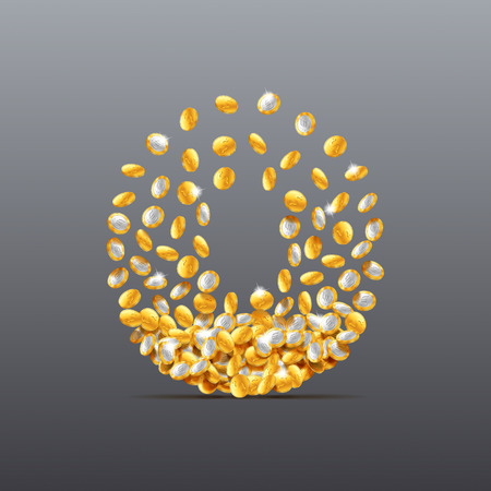 filling: Vector number zero made of coins filling character. Easy to edit Illustration